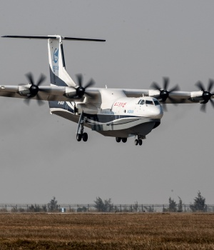 China's domestically developed AG600, the world's largest amphibious aircraft, is seen during its maiden flight in Zhuhai