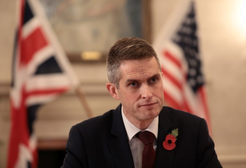 Britain's Secretary of State for Defence, Gavin Williamson sits opposite U.S. Secretary for Defense, Jim Mattis, before a meeting at the Ministry of Defence in central London