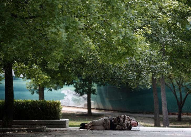 A man takes a nap underneath trees at a park in Beijing