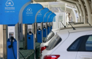 EV charging station is seen at a factory of Beijing Electric Vehicle in Beijing
