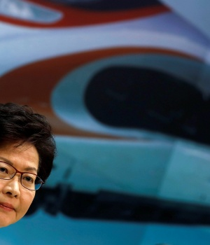 Hong Kong Chief Executive Carrie Lam attends a news conference on arrangements at West Kowloon Terminus for the Guangzhou-Shenzhen-Hong Kong Express Rail Link in Hong Kong