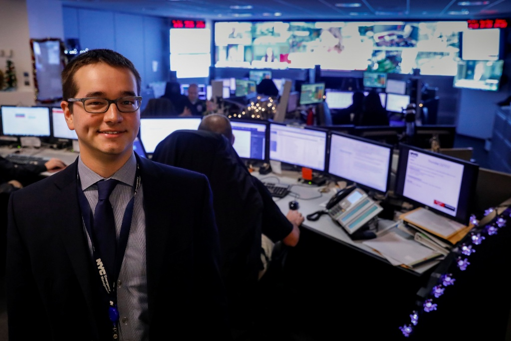 Eliot Calhoun, the Chemical, Biological, Radiological, Nuclear, and Explosives (CBRNE) Planner for NYC Emergency Management, poses in the operations center at the Emergency Management Headquarters in the Brooklyn borough of New York