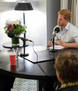 Britain's Prince Harry is seen interviewing former U.S. President Barack Obama, in Canada, in a 'Today Programme' exclusive, in this undated still image taken from video and received via 'The Today Programme on the BBC Radio 4' in London