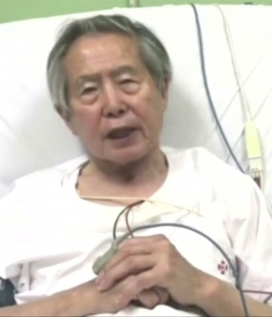 A still image of Peru's former President Alberto Fujimori asking for forgiveness from Peruvians