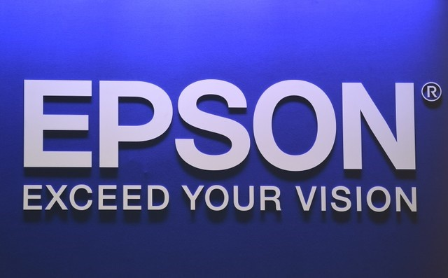 Epson logo is seen during preparations at the CeBit computer fair in Hanover