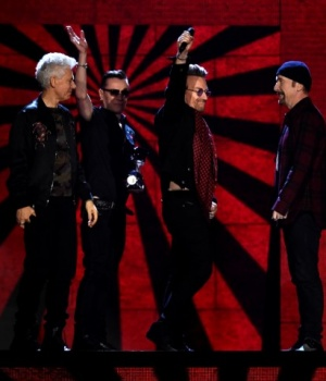 Irish group U2 receive an award at the 2017 MTV Europe Music Awards at Wembley Arena in London.