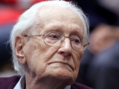 "Oskar Groening, defendant and former Nazi SS officer dubbed the ""bookkeeper of Auschwitz"", is pictured in the courtroom during his trial in July 2015"