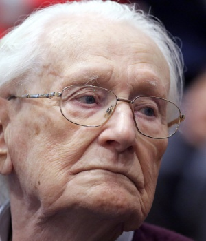 """Oskar Groening, defendant and former Nazi SS officer dubbed the """"bookkeeper of Auschwitz"""", is pictured in the courtroom during his trial in July 2015"""