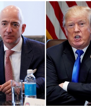 A combination photo of Amazon CEO Jeff Bezos and U.S. President Donald Trump in New York and in Washington
