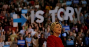 Then-Democratic presidential nominee Hillary Clinton at a campaign rally in Raleigh