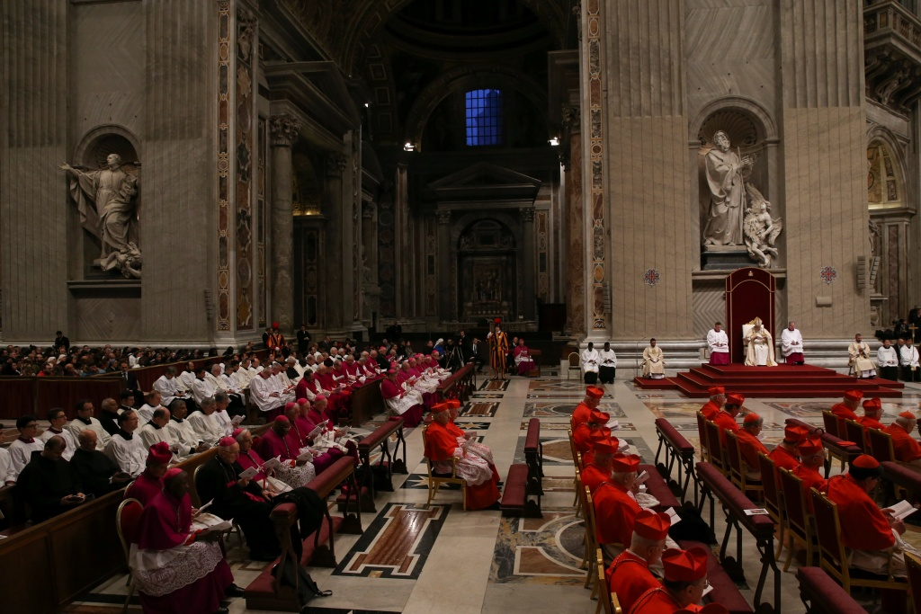 Pope Francis leads the First Vespers and Te Deum prayer in Saint Peter's Basilica at the Vatican