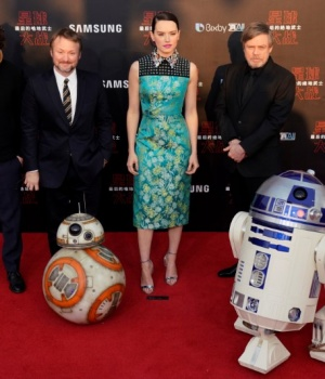 Producer Ram Bergman, director Rian Johnson and actors Daisy Ridley and Mark Hamill pose for pictures as they arrive for the China premiere of 'Star Wars: The Last Jedi' at the Shanghai Disney Resort in Shanghai