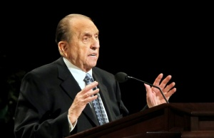 President of the Church of Jesus Christ of Latter-day Saints, Thomas Monson gives a talk at the fourth session of the 181st Semiannual General Conference in Salt Lake City