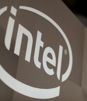 The Intel logo is shown at the E3 2017 Electronic Entertainment Expo in Los Angeles