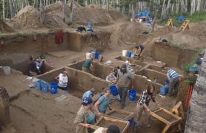 Scientists work at the Upward Sun River discovery site in Alaska's Tanana River Valley