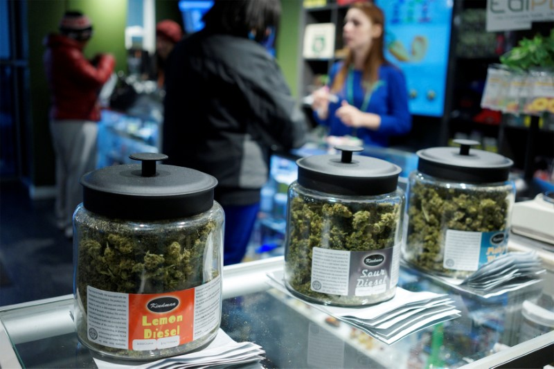 "Customers shop for ""Green Friday"" deals at the Grass Station marijuana shop on Black Friday in Denver"