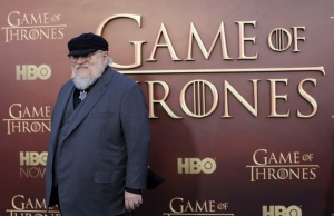 """Co-executive producer George R.R. Martin arrives for the season premiere of HBO's """"Game of Thrones"""" in San Francisco"""