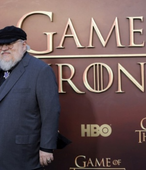 "Co-executive producer George R.R. Martin arrives for the season premiere of HBO's ""Game of Thrones"" in San Francisco"