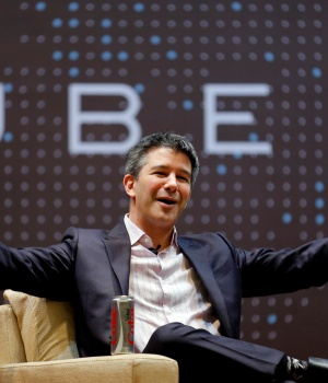 Uber CEO Kalanick speaks to students during an interaction at IIT campus in Mumbai