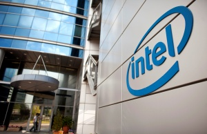 An Intel logo is seen at the company's offices in Petah Tikva near Tel Aviv