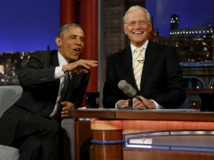 Obama tapes an appearance on the Late Show with David Letterman at the Ed Sullivan Theater in New York