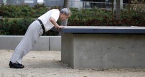 A man exercises in downtown Los Angeles