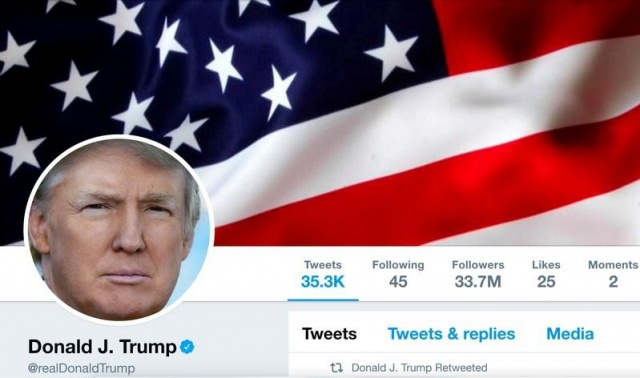 The masthead of U.S. President Donald Trump's @realDonaldTrump Twitter account
