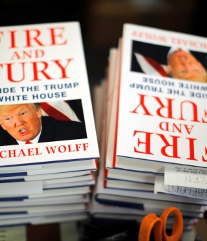 "Copies of the book ""Fire and Fury: Inside the Trump White House"" by author Michael Wolff are seen at a local book store in Washington, DC"