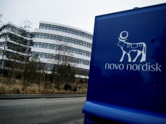 Novo Nordisk logo is seen in Bagsvaerd outside of Copenhagen