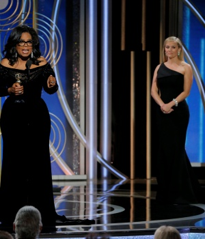 Oprah Winfrey speaks after accepting the Cecil B. Demille Award at the 75th Golden Globe Awards in Beverly Hills