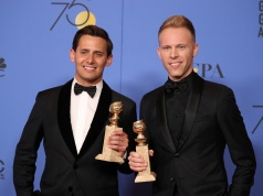 "Benj Pasek and Justin Paul hold the awards they won for Best Original Song - Motion Picture for ""This Is Me"" from the filmâ ""The Greatest Showman,"" at the 75th Golden Globe Awards in Beverly Hills"