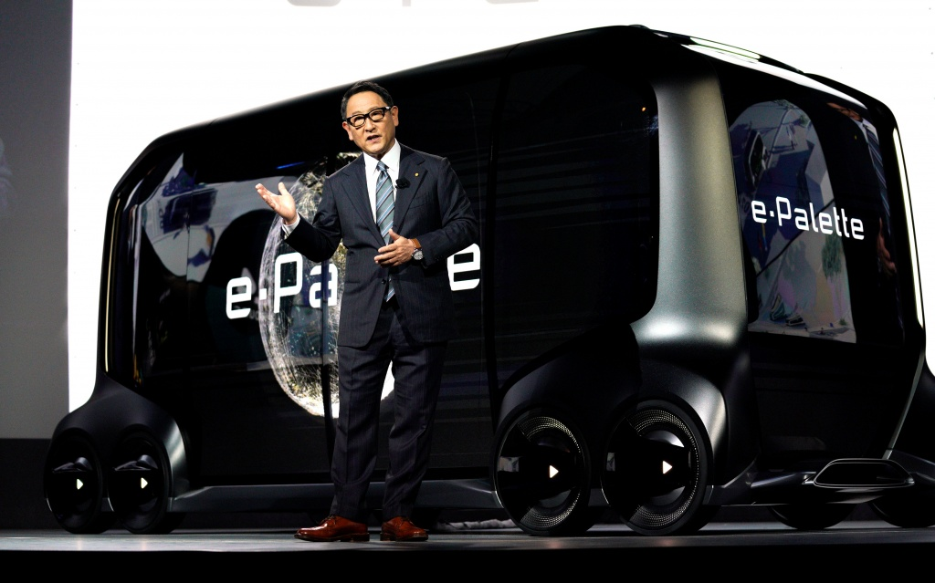 "Akio Toyoda, president of Toyota Motor Corporation, announces the ""e-Pallete"", a new fully self-driving electric concept vehicle, Las Vegas"