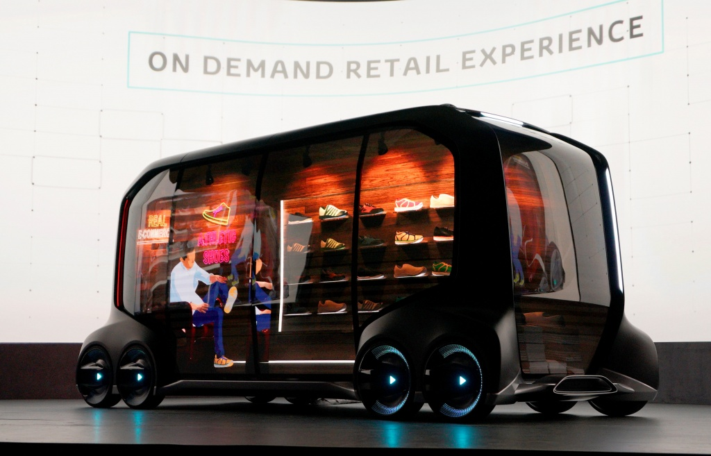 "Toyota Motor Corporation, displays the ""e-Pallete"", a new fully self-driving electric concept vehicle, in Las Vegas"