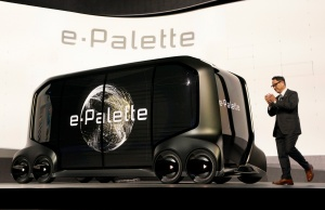 "Akio Toyoda, president of Toyota Motor Corporation, announces the ""e-Pallete"", a new fully self-driving electric concept vehicle, in Las Vegas"