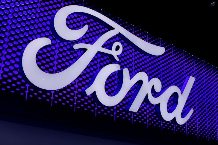 The Ford Motor Company logo is pictured at the Los Angeles Auto Show