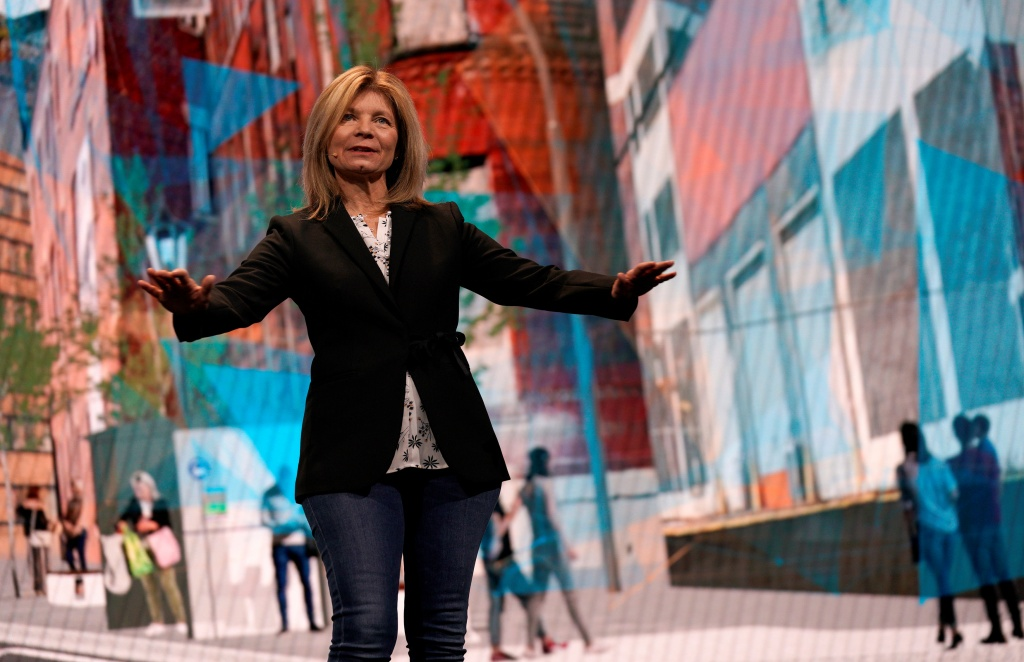 Marcy Klevorn, president of Mobility, Ford Motor Company, speaks at CES in Las Vegas