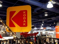 The Kodak logo is shown on a booth during the 2017 CES in Las Vegas