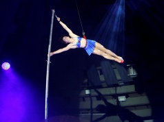 A circus artist, member of the Duo Cardio, performs during the International Circus Festival in Budapest