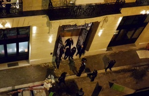 A general view of the scene after axe-wielding robbers stole jewelry at the Ritz Paris hotel in Paris