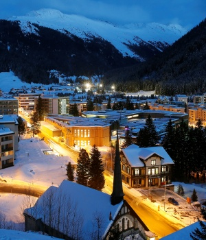 Night view shows the illuminated congress centre in the Swiss mountain resort of Davos