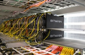 Bitcoin mining computers are pictured in Bitmain's mining farm near Keflavik