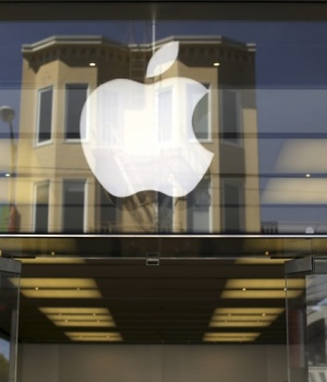 The Apple logo is pictured on the front of a retail store in the Marina neighborhood in San Francisco