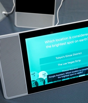 A 10-inch Lenovo Smart Display with Google Assistant is shown during Pepcom's Digital Experience in Las Vegas