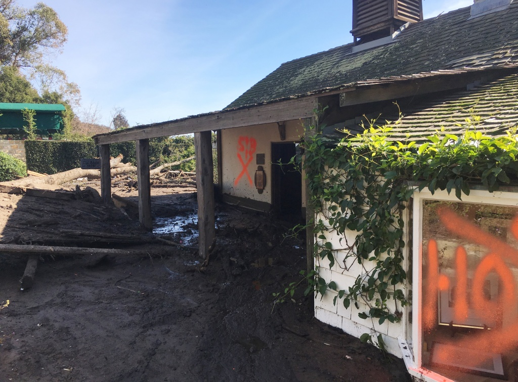 Damage from recent mudslides is shown surrounding San Ysidro Ranch in Montecito