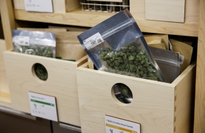 Marijuana is seen for sale at a dispensary in Oakland on the first day of legalized recreational marijuana sales in California