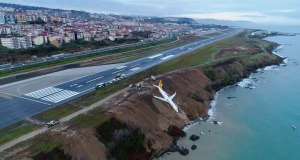 A Pegasus Airlines aircraft is pictured after it skidded off the runway at Trabzon airport by the Black Sea in Trabzon
