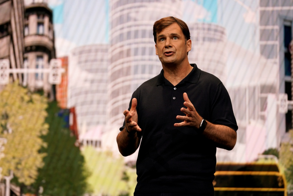 Jim Farley, president of Global Markets, Ford Motor Company, speaks at CES in Las Vegas