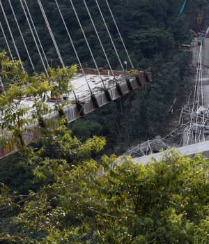 View of a bridge under construction that collapsed leaving dead and injured workers in Chirajara near Bogota