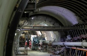 """View of the tunnel on the construction site of the future metro stations """"Aime Cesaire"""" and """"Mairie d'Aubervilliers"""" as part of the line 12 extension in Aubervilliers near Paris"""