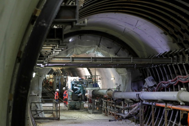 View of the tunnel on the construction site of the future metro stations